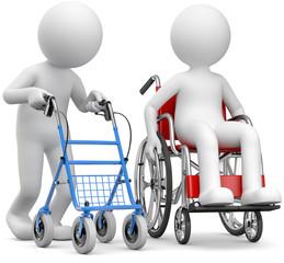 3d Männchen Rollator und Rollstuhl