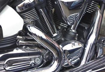 Shiny motorcycle engine