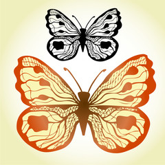 Red vintage butterfly illustration