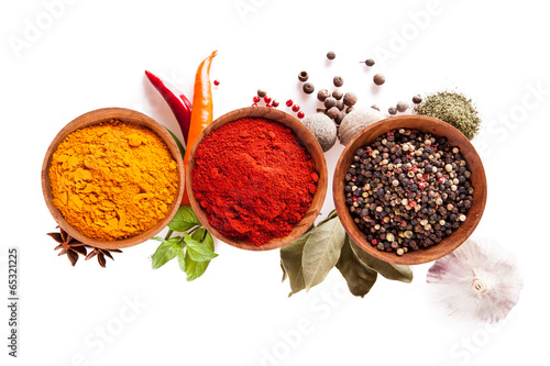 Deurstickers Kruiden Various spices isolated on white background