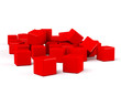 Abstract red clear cubes on white