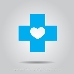 heart in cross vector icon
