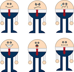 Round business character with various expressions