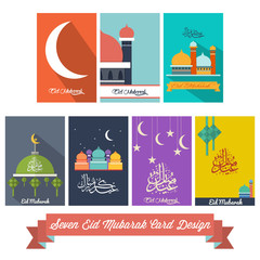 Seven Eid Mubarak Flat Design Card