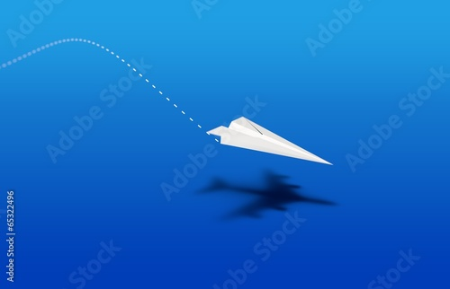 paper plane landing with airliner shade bleu - 65322496