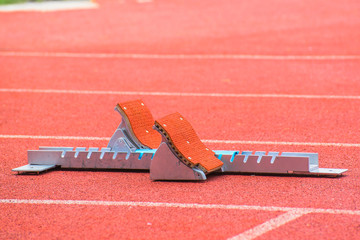 the starting blocks on running tracks