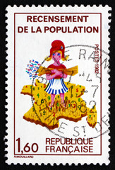 Postage stamp France 1982 Girl and Map of France