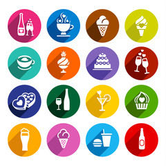 Set flat food icons