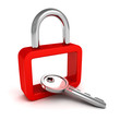 red security padlock with metallic key