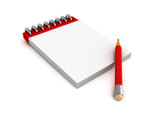 Notepad and red pencil on white background
