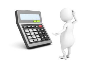 3d white man with calculator