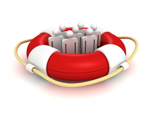 white 3d team people in lifebuoy