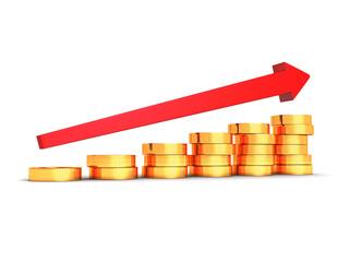 bar chart diagram of golden dollar coins with growing arrow
