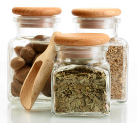 jars and wooden spoons with parsley, nutmeg and cumin isolated