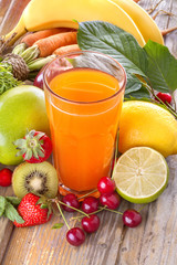 A healthy multivitamin juice of various fruits and vegetables