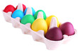 Colorful Easter eggs in tray isolated on white