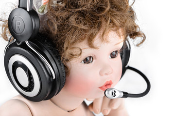 Doll with a headset