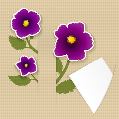 Greeting paper card with flower and ribbon for text second