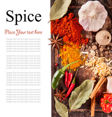 Various spices isolated on white background