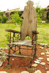 Wooden old throne