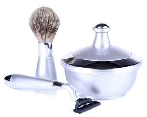 Male luxury shaving kit isolated on white