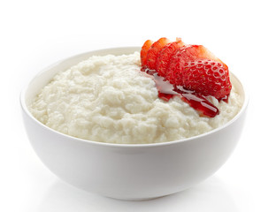 Bowl of rice flakes porridge