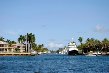 Canal in Fort Lauderdale Florida USA