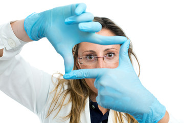 doctor creating a frame with fingers