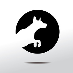 Logo with jumping dog