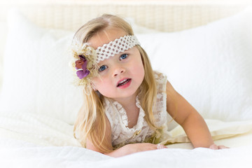 Little girl with headband serious