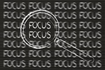 Focus, magnifying glass design