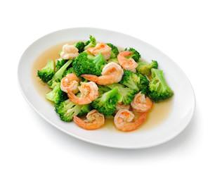 Thai healthy food stir-fried broccoli with  shrimp