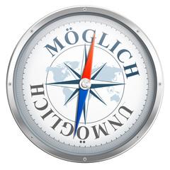 Kompass mit Möglich / Unmöglich