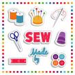 Sewing Stickers, needle, thread, scissors, thimble rainbow frame