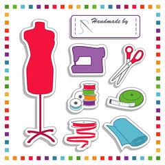 Fashion Stickers, model, sewing machine, fabric, rainbow frame