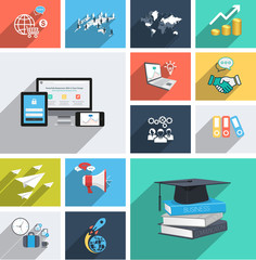 Vector collection of modern flat icons with long shadow.