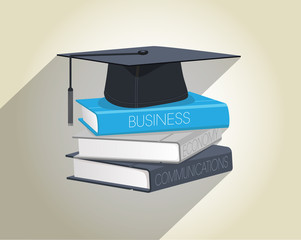 Books and graduation cap vector illustration