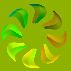 Green Sun - Circular Abstract Green Leafs - Company Logo - Saw