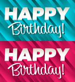 Blue and Pink Happy Birthday Banners