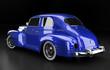 Studioaufnahme Oldtimer blau Rückansicht, 3D Render