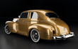 Studioaufnahme Oldtimer gold Rückansicht, 3D Render