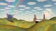 Fantasy Landscape with Winged Elephant