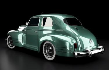 Studioaufnahme Oldtimer grün Rückansicht, 3D Render