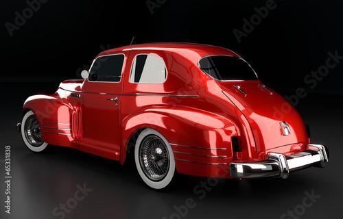 Studioaufnahme Oldtimer rot Rückansicht, 3D Render