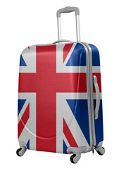 Trunk with British flag isolated. Trip to England concept.