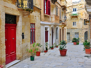 Colorful patio in Valletta, Malta