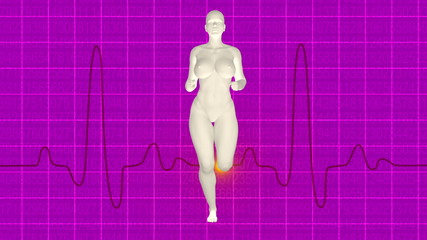 Woman jogging with oscilloscope heart monitor