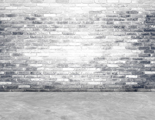 Empty brick wall and cement floor room in perspective.