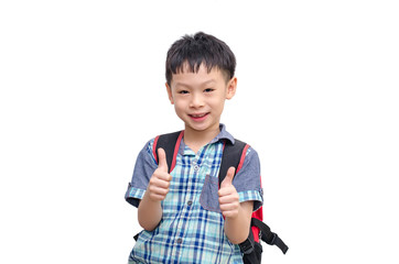 Happy Asian schoolboy wearing backpack and giving thumbs up isol