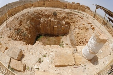 Fisheye view of ancient excavations in Mamshit in Israel